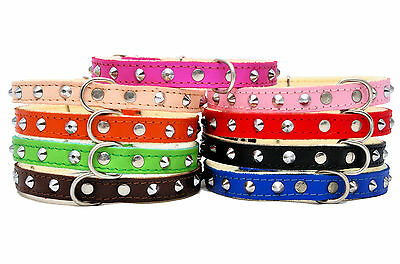 Real SOFT LEATHER STUDDED DOG PUPPY CAT KITTEN COLOURFUL COLLAR • 2.70£
