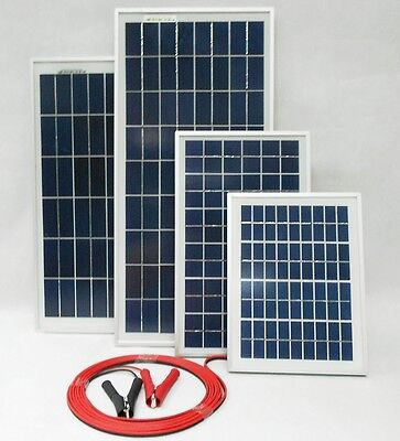£24.95 • Buy  5w 10w 20w 25w 30w 40w Solar Panel 12v C/w 4m Cable Block Diode & Battery Clips