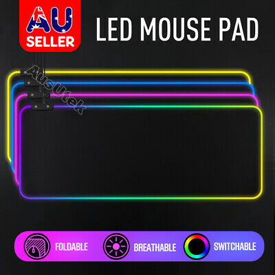 AU35.95 • Buy LED Gaming Mouse Pad Large RGB Extended Mousepad Keyboard Desk Anti-slip Mat