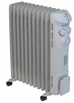 Prem-I-Air 2.5 KW 11 Fin Oil Filled Portable Radiator With Timer & Wheels #1369 • 69.99£
