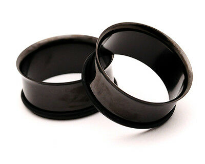 $6.99 • Buy Pair Of BLACK Steel Single Flare Tunnels Set Gauges Plugs PICK SIZE