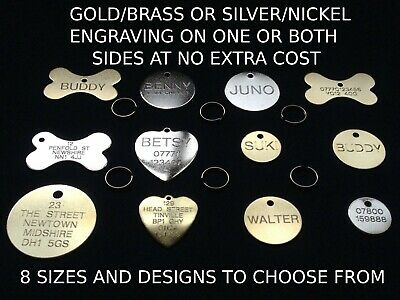 £3.25 • Buy Engraved Dog Tag Personalised Round Bone Id Name Disc Large Small Pet Cat Tags