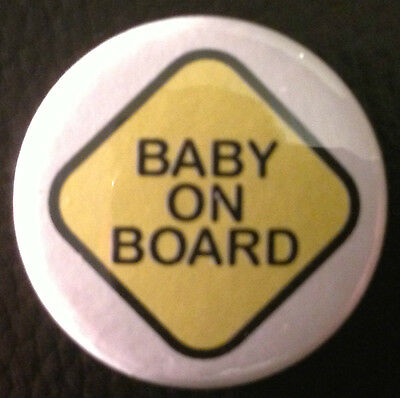 BUY 2 & GET 1 FREE - Baby On Board 1'' Pin Button Badge -Car Sign Style Pregnant • 0.99£