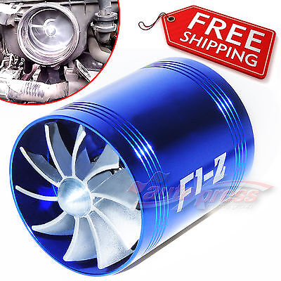 $26.53 • Buy AIR INTAKE DUAL FAN BLUE Turbo Supercharger Turbonator Gas Fuel Saver Fits FORD