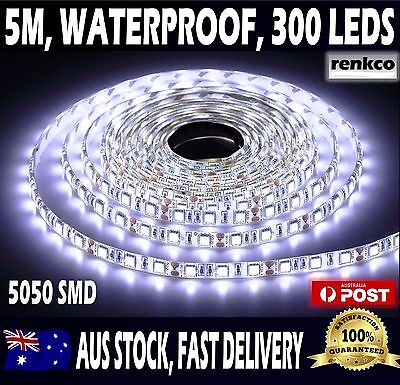 AU16.99 • Buy 5m Flexible Bright LED Strip Lights 12V Waterproof 5050 SMD Cool White 300 LEDs