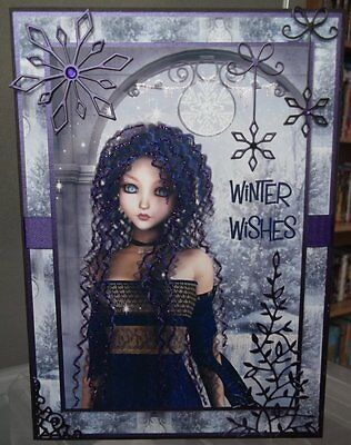 Handmade Gothic Christmas Card With A Young Girl In Purple And Snowflakes Design • 6.75£
