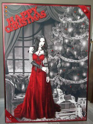 Handmade Gothic Christmas Card Demure Lady In Red Design • 5.30£