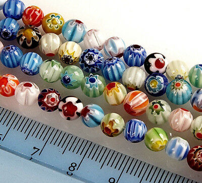 MIXED~ROUND~MILLEFIORY~GLASS BEADS~CHOOSE SIZE: 64 X 6 MM~ 48 X 8 MM~ 30 X 10 MM • 2.29£