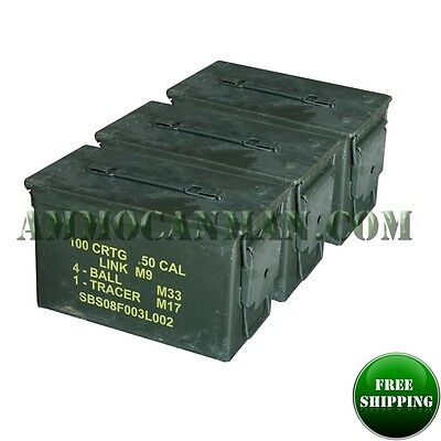 $49 • Buy 3-pack! Three 50 Cal Grade 1 Ammo Cans M2a1 5.56 Empty Ammunition Cans