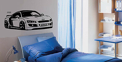 Personalised Sports Car Audi R8 Wall Stickers Audi Decals Audi Murals Car Art  • 17.05£