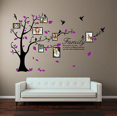 Family Tree Bird Photo Frame Wall Stickers Quote Art Wall Decals Home Decoration • 37.12£