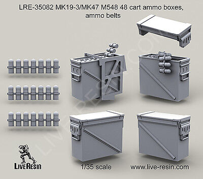 $18.99 • Buy Live Resin 1/35 LRE-35082 MK19-3/MK47 M548 48 Cart Ammo Boxes, Ammo Belts