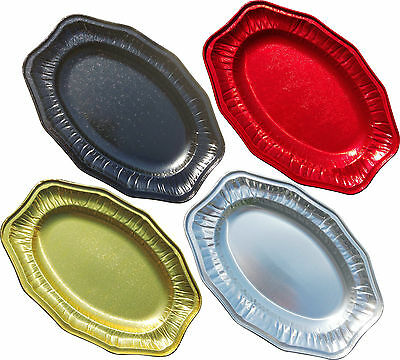 Foil Party Platters Red Black Gold Silver Serving Platter Buffet Catering Food • 9.99£