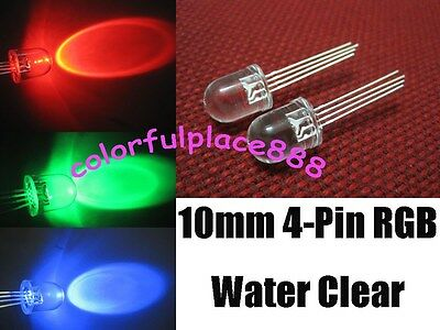 £5.78 • Buy 20 X 10mm 4-Pin Tri-Color RGB Water Clear Common Cathode Red Green Blue LED Leds