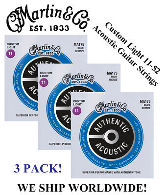 $ CDN23.33 • Buy **3 Sets - Martin Ma175 Acoustic Guitar Strings Custom Light 80/20 (was M175)**