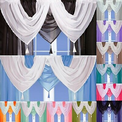 £2.60 • Buy Voile Swags - Tassled - All Colours - Pelmet Valance Net Curtains Voile Curtains