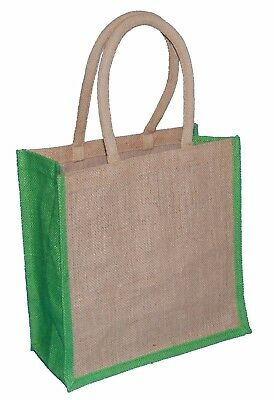 £3.99 • Buy 1 JUTE HESSIAN NATURAL WITH LIME TRIM MEDIUM DELUXE SHOPPING BAG 30x30x15CMs