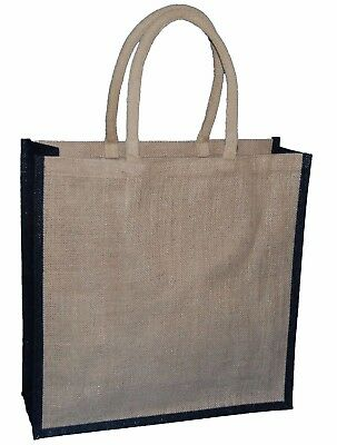 £5.99 • Buy 1 JUTE HESSIAN NATURAL WITH BLACK TRIM LARGE DELUXE SHOPPING BAG 40x40x15CMs