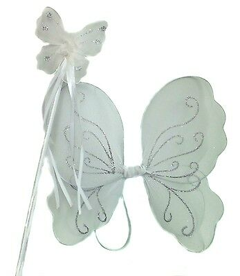 £5.99 • Buy White Fairy Christmas Angel Wings And Wand Fancy Dress Sse For Girls Dressing Up