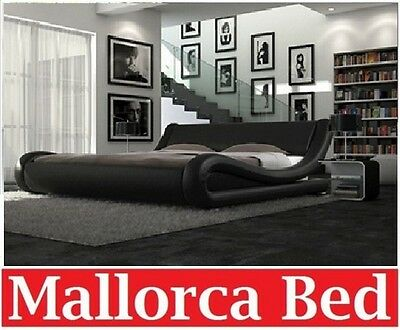 AU269 • Buy Italian Design Mallorca Queen King Size Black White Pu Leather Bed Frame