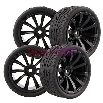 6mm Offset RC 1/10 On Road Car Foam Soft Rubber Tyres Tires &Wheel Rim 601-8002 • 7.20£
