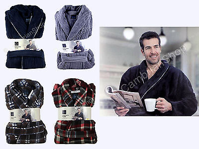 Majestic Mens Soft Plush Fleece Dressing Gown Robe RRP £75 Blue Grey Red Plaid • 19.90£