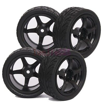 3mm Offset RC 1/10 On-Road Car Foam Rubber Tyres Tires Black Wheel Rim 9077-8002 • 7.20£