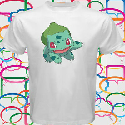 a0112d75 Cute Bulbasaur Green Pokemon Men's White T-Shirt Size S M L XL 2XL 3XL •  16.52
