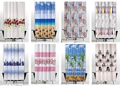 Fabric Bathroom Shower Curtain Extra Long & Wide In 3 Sizes, Different Patterns • 13.90£