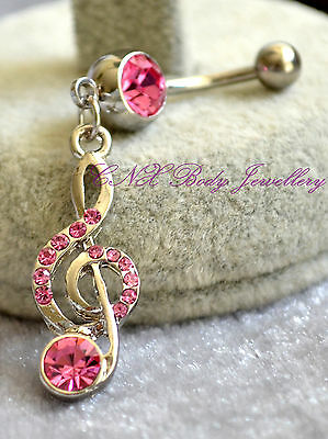 316L Surgical Steel Dangling Pink Crystal Music Note Navel Bar Belly Ring  • 4.95£
