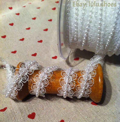 £1.99 • Buy Lace And Pearl Beaded Ribbon Bridal Trim Trimming 12-25mm White Ivory May Arts