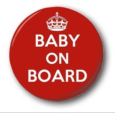 BABY ON BOARD  - 1 Inch / 25mm Button Badge - Novelty Cute KEEP CALM STYLE • 0.99£