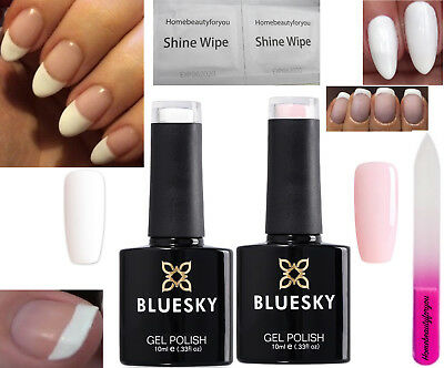 £6.85 • Buy Bluesky French Manicure Kit Studio White And A Clear Pink Nail Gel Polish Uv Led