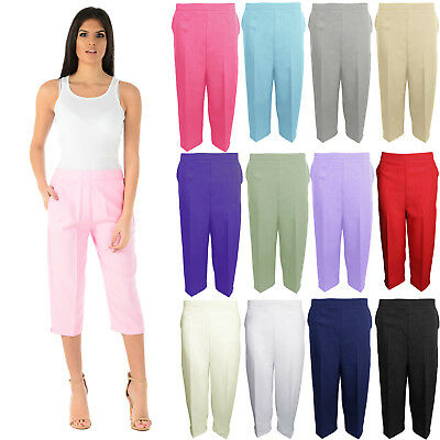 Ladies 3/4 Trousers Womens Three Quarter Elasticated Waist Capri Cropped Pants • 2.99£