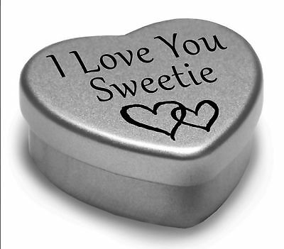 Beautiful Silver Heart Tin With Sweets, Special Gift Present To Say I Love You • 3.99£