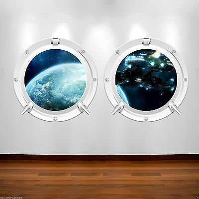 DEEP SPACE SPACESHIP PORTHOLE Full Colour Wall Sticker Decal Transfer Mural 1 • 14.98£