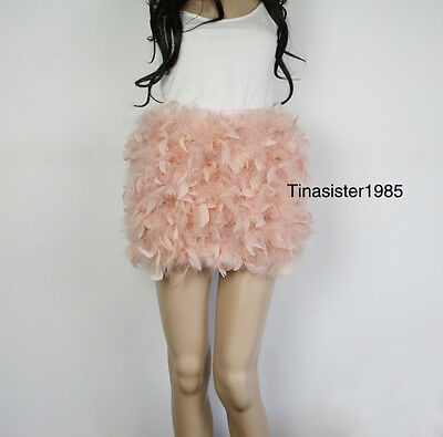 £28.99 • Buy Women Lady Girl Fluffy Real Ostrich Hair Feather Mini Skirt