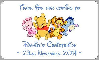 Baby Winnie The Pooh Thankyou Labels Boy's Personalised Christening Stickers • 2.50£