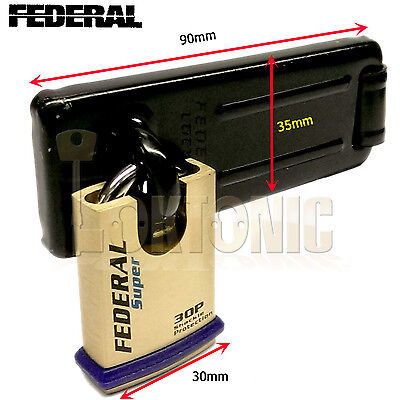 £16.23 • Buy Federal Security Shed Gate Lock Hasp Staple And Padlock Combo FD1055 FD30P