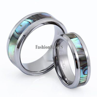 $12.99 • Buy Comfort Fit High Polish Tungsten Carbide Abalone Inlay Men's Women's Rings Band