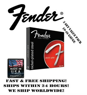 $ CDN17.84 • Buy *fender 250r Regular Electric Guitar Strings (10-46 Gauge, 3 Set Value Pack!)*