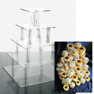 £25 • Buy Cupcake Stand 5 TIER SQUARE - Clear Acrylic Display Tower For Wedding & Party UK