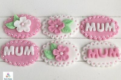 6 Edible Pink White Mothers Day Flowers Plaque Cake Cupcake Toppers Decorations • 5.99£