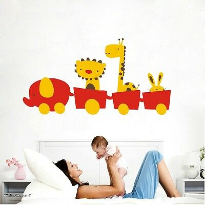 Animal Wall Sticker Decal Elephant Giraffe Lion Train Rabbit Tiger Kids Children • 5.99£