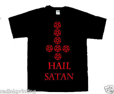 Hail Satan Inverted Pentagrams Cross T Shirt Conjuration Witchcraft S To 2xl • 12.27£
