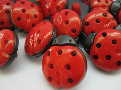 10 Ladybirds Shank Sewing Buttons 13mm Kids Ladybug Clothing Buttons Or Crafts  • 2.49£