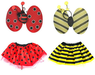 Bumble Bee Or Ladybird Fancy Dress Costume Tutu Wings Head Bopper Set • 5.49£