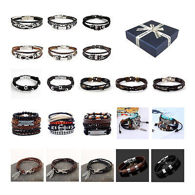 £2.99 • Buy Mens Women Ladies Leather Cord Clasp Bracelet Bangle Wristband With Gift Box
