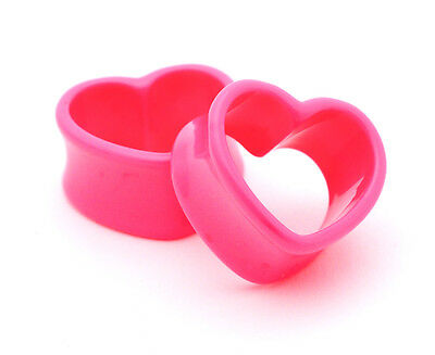$4.99 • Buy Pair Of Pink Acrylic Heart Tunnels Plugs Set Expanders Gauges Lot Choose Size
