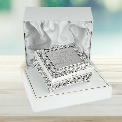 £24.99 • Buy Maid Of Honour Wedding Party Gift Engraved Silver Plated Trinket Box Girl Gifts